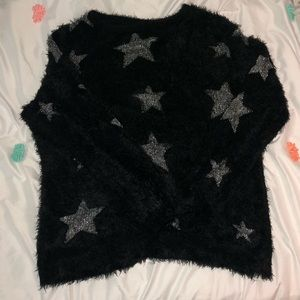 Warm and Fuzzy Jumper with Metallic Stars